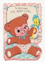 Vintage Rust Craft New Baby Greeting Card Fuzzy Baby Teddy Bear Feb16
