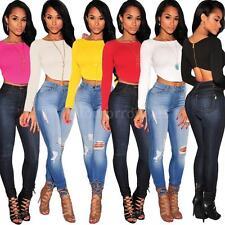 Women's Stretch No Pattern Cropped Cotton Blend Tops & Shirts