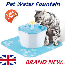 Pet Dog Cat Drinking Water Fountain 1.6L Electric Water Bowl Clean Purified UK
