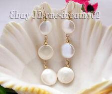 dangle earring 14k gold hook 14mm white fresh water coin pearl