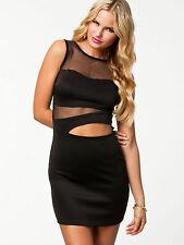 Sexy Clubwear Dress Bodycon Party Mini Dress Black  White 6 8 10 12 UK Seller