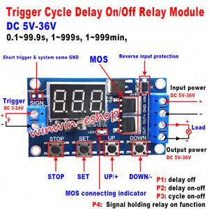 DC 5V 9V 12V 24V LED Display Cycle Delay Timer Relay Switch Turn On/Off Module