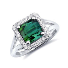 Natural Green Tourmaline 2.86 carats set in 14K White Gold Ring with Diamonds