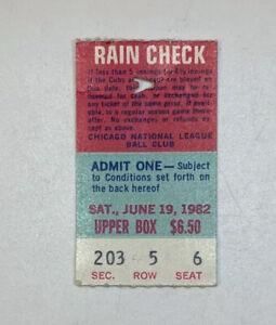 1982 Chicago Cubs v Montreal Expos Wrigley Field Ticket Stub 6/19/82 Sandberg