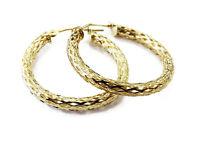 14k Yellow Gold Unique Ladies Hoop Earrings ~ 1.2g