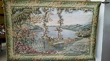 "Elegant Villa Patio View Tapestry Wall Hanging 35""x53"" w Rods"