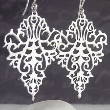 Ornate Jali ACANTHUS SilverSari Drop Earrings Solid 925 Sterling Silver ES1029