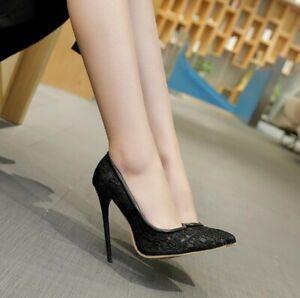 Women Lace High Heels Wedding Shoes Nightclub Pumps Pointed Toe Slip On Stiletto