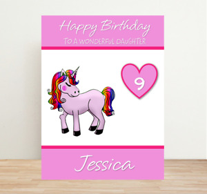 Personalised Birthday Card Unicorn Fairy - Any Age + Name Relation Cards #408