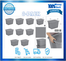 Tote Box Plastic Storage Bins Tubs With Handle 8-Pack 18 Gallon Titanium New