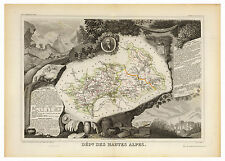Hautes-Alpes Provence-Alpes-Côte d'Azur France illustrated map Levasseur ca.1856