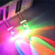 50pcs 2 pins 3mm Water Clear slow Flash RGB LED Rainbow MultiColor Flashing
