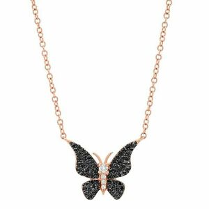 0.14 CT 14K Rose Gold Natural Black White Diamond Butterfly Pendant Necklace