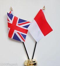 United Kingdom & Monaco Double Friendship Table Flag Set