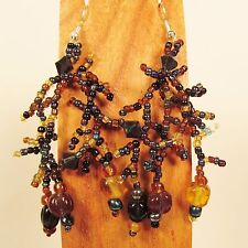"2 1/2""Black Gold Color Bohemian Mix Bead Style Handmade Dangle Seed Bead Earring"