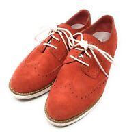 Cole Haan Lunargrand Womens SZ 7.5 B Orange Suede Wingtip Oxford Shoes