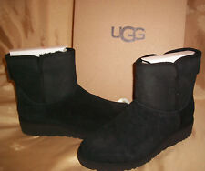 $150 Size 7 Womens UGG Aust. Kristin  SHEEPSKIN Wedge Suede Boots Black 1012497
