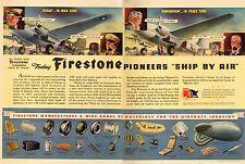 1942 WW2 era AD FIRESTONE Ships by Air ! Loading C-55 Commando E flag  042517