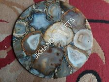 "18"" Round Marble Gray Stone Coffee Table Top Hallway Kitchen Decor"