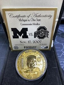 2007 Michigan vs Ohio State Medallion with Box Woody Hayes Bo Schembechler Coin
