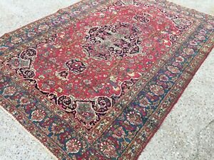 Antique Persian Kashan HandMade Natural Dye Wool Rug Vintage country house chic