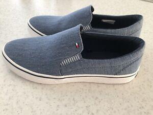 BNWT Tommy Hilfiger Women's Denim Blue Trainers Slip On Shoes Size UK 4 EUR 37