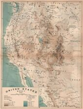 United States West. 1892. USA 1885 old antique vintage map plan chart