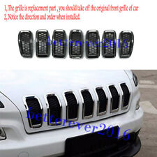 7* Front Grille Inserts Mesh Trim Frame Accessories For 2014-2018 Jeep Cherokee