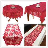 Vintage Red Lace Tablecloth Floral Table Runner Wedding Valentines Day Decor