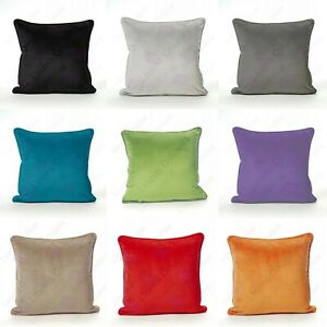 NEW Luxury Plain Soft French Velvet Piped Cushion Covers Plush 18 X 18, 24 X 24