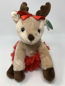"""Bearington Darling Dancer Reindeer W/ Red Tutu Plush Stuffed Animal Toy 11"""""""