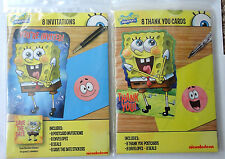 Spongebob Squarepants Happy Birthday Party Invitations AND Thank You Cards