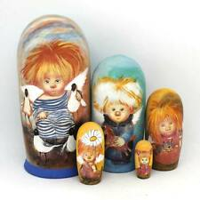 "Big Matryoshka Wooden Nesting Dolls ""Sunny Angels"" set 5 pcs hand painted #14"