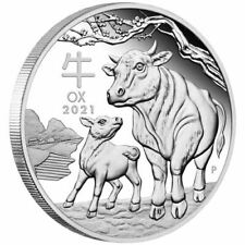 2021 Australia $1 Lunar Year of the Ox 1 oz 9999 Silver Proof Coin - 5,000 Made