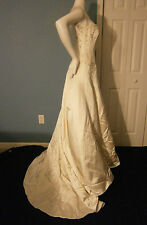 ANNE BARGE KLEINFELD NY WEDDING GOWN SILK  6 PEARL IVORY LACE CORSET PRINCESS