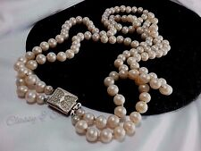 Vintage Silver Art Deco Rhinestone Vendome Pat Pend Glass Pearl Double Necklace