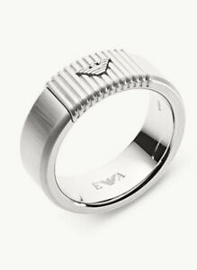 NEW EMPORIO ARMANI MEN'S STAINLESS STEEL RING BAND EGS2655040002 Size 11