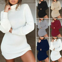 Women Loose Turtleneck Sweater Dress Knitted Long Pullover Jumper Mini Dress Top