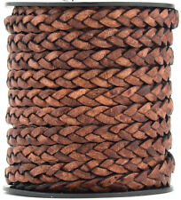 Xsotica® Brown Distressed ND Flat Braided Leather Cord 5 mm 1 meter FlatRateShip