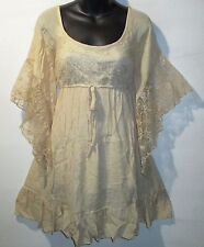 Mini Dress XL Ivory Long Tunic Top Wide Crochet Lace Sleeve Fantasy NWT 4247