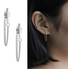 925 Sterling Silver T-Bar Dangle Drop Stud Earrings Hanging Tassel Chain D26