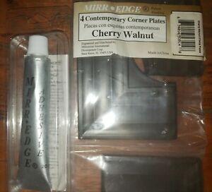"MIRREDGE 53514 3"" W Cherry Wood Grain 4 Corner Plates & Mirredge Adhesive LOT"