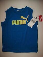 PUMA Shirt Boys Muscle Sleeveless Sz 2Toddler Sport Logo Blue   NWT