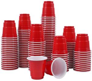 Abom Mini Disposable Shot Glasses - 2oz 120 Count Red Plastic Shot Cups Mini for