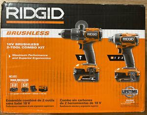 RIDGID R9208 18V Brushless Cordless 2 Tool Combo Kit w/Hammer Drill & Impact.