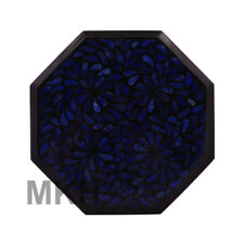 "12"" Black Marble Coffee Table Top Lapis Pietra Dura Inlay Living Room Decor"