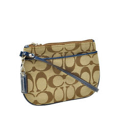 NWT Coach Signature Wristlet Bag in Light Khaki/Navy F 45659