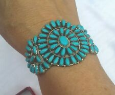 Authentic NAVAJO Needlepoint Turquoise Sterling Handcrafted Bracelet by P JONES