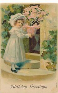 BIRTHDAY – Dressed Up Girl at Doorway - 1908