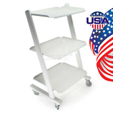 USA Dental Medical Metal Mobile Instrument Cart Trolley 3 Layers Plug Casters